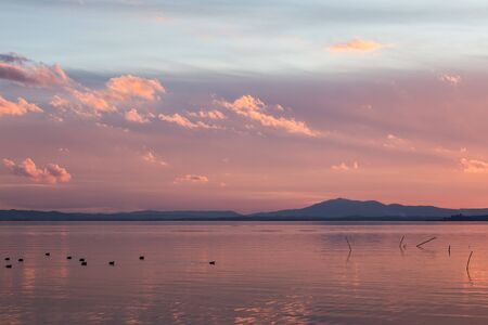 Sunset a Trasimeno lake (Umbria, Italy), with fishing net poles and branches