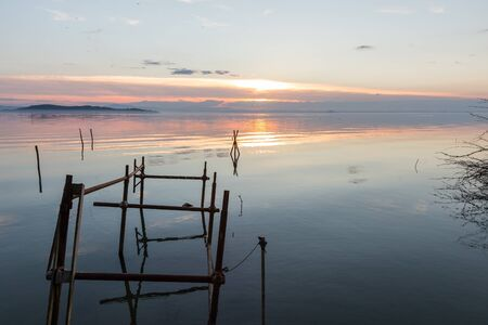 Sunset at Trasimeno lake (Umbria, Italy), with fishing net poles and branches on perfectly still water.