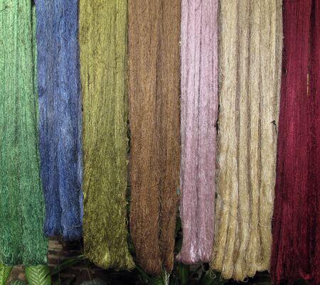 colorful fresh silk in laos