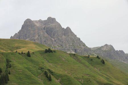 View on Koerber lake, the most beautiful spot in Austria, Arlberg and Hochtannberg area near Lech,Vorarlberg Stok Fotoğraf