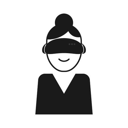 cyber woman: a woman who wear a helmet of virtual reality