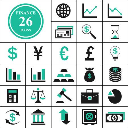 twenty six: Twenty six finance icons set Illustration