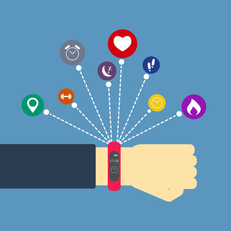 Fitness tracker on hand with various apps