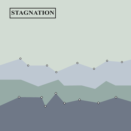 Economic stagnation illustration, background gray design