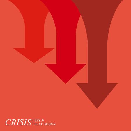 crisis economica: Carta de la crisis económica, las flechas en fondo rojo