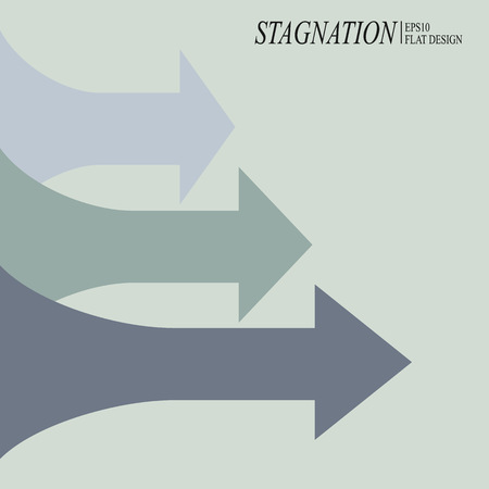 Economic stagnation chart, arrows on gray background
