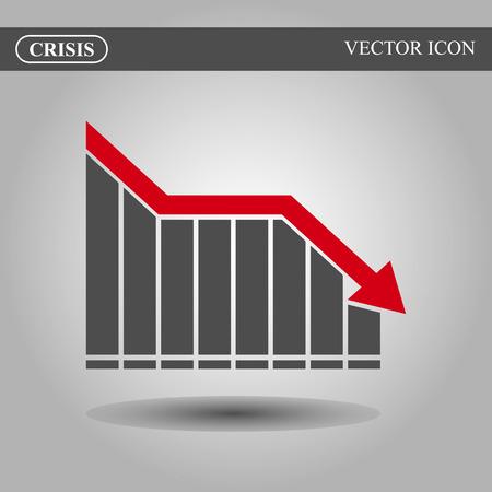 downturn: Crisis vector icon concept, black bars