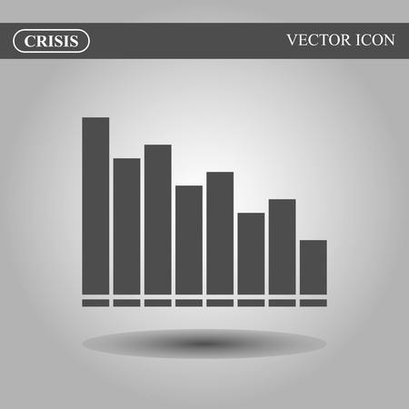 stock price losses: Crisis vector icon concept, black bars