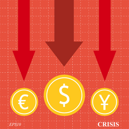 economic cycle: Currency crisis arrows on red background