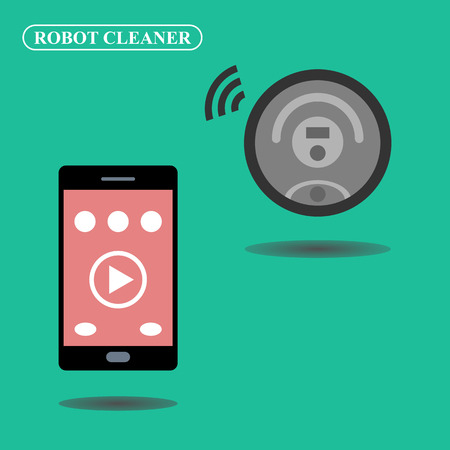 controlled: Robot vacuum cleaner controlled via smartphone Illustration