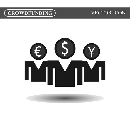 crowdsource: Crowdfunding vector icon, crowdsourcing black icon