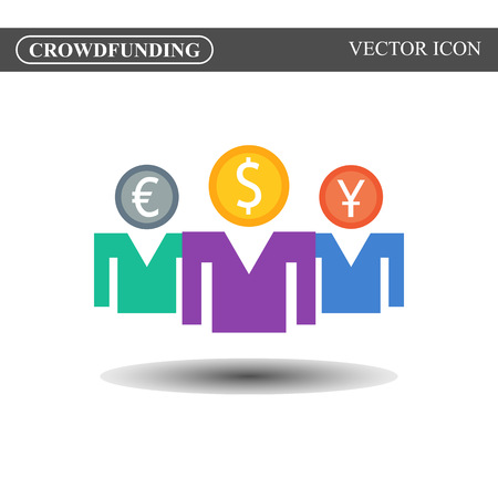 Crowdfunding vector icon, crowdsourcing colorful icon