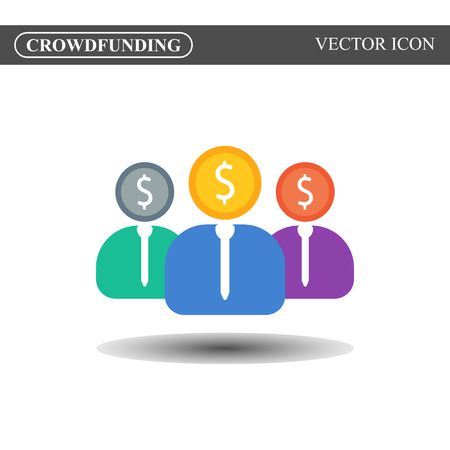 crowdsource: Crowdfunding vector icon, crowdsourcing colorful icon