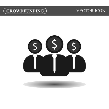 crowd source: Crowdfunding vector icon, crowdsourcing black icon