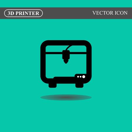 3d printer: 3d printer flat icon concept