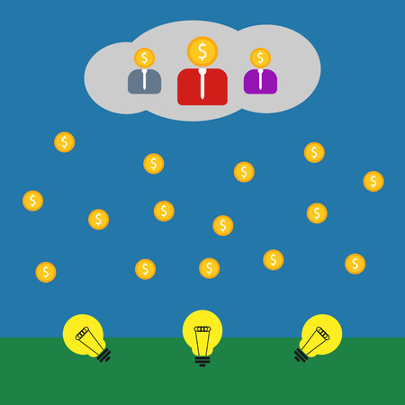 Crowdsourcing illustration on blue background, crowdfunding illustration
