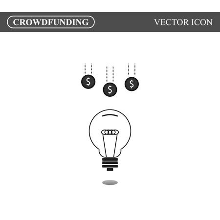 crowdsource: Crowdfunding icon on white background, crowdsourcing icon concept