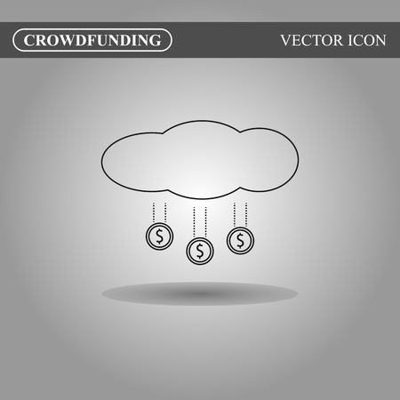 crowdsource: Crowdfunding icon on gradient background, crowdsourcing icon concept
