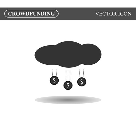 crowd source: Crowdfunding icon on white background, crowdsourcing icon concept