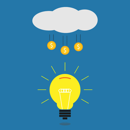 crowdsource: Crowdfunding illustration on blue background, crowdsourcing illustration