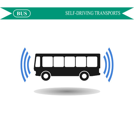 side view: Self driving bus concept icon, bus side view
