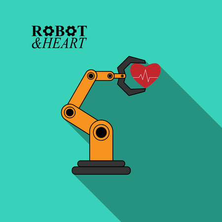 Robotic arm with heartbeat illustration on green background