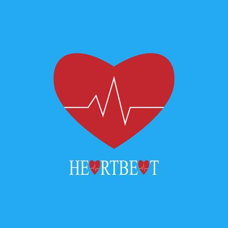 pulsating: Heartbeat flat illustration on blue background
