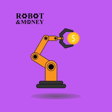robotic: Robotic arm with money illustration on purple background Illustration
