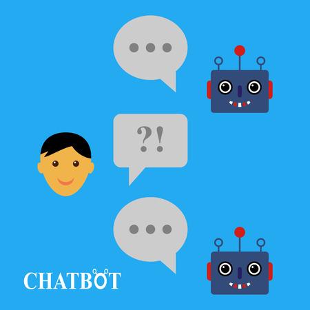 Chatbot and human conversation, chatting illustration