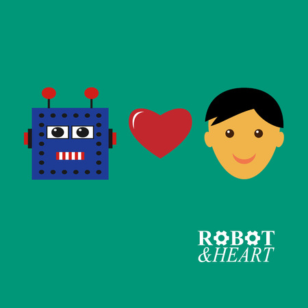 Robot loves human illustration