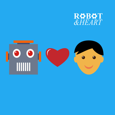 loves: Robot loves human illustration