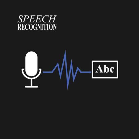 Speech recognition illustration on black background illustration