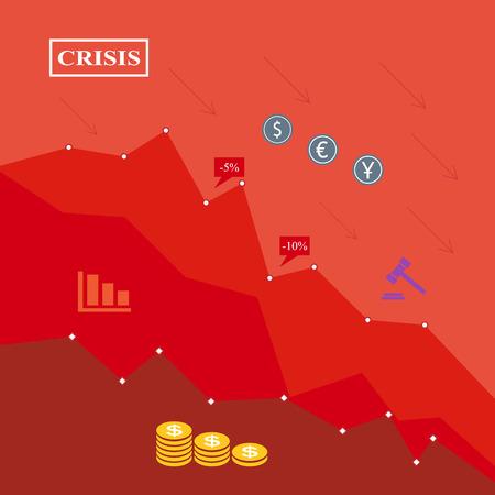 crisis economica: Ilustración crisis económica, fondo rojo, caída financiera
