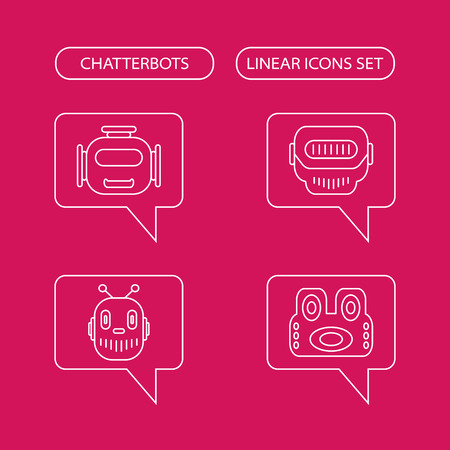 bot: Chatterbots linear icons set, chat bot or chatterbot