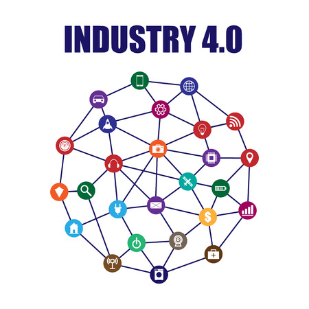 40: Industry 4.0 and internet of things vector illustration