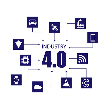 industry: Industry 4.0 and internet of things illustration