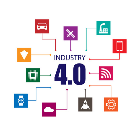 industry design: Industry 4.0 and internet of things illustration