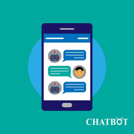 talking robot: Chatbot and human conversation on smartphone, vector illustration