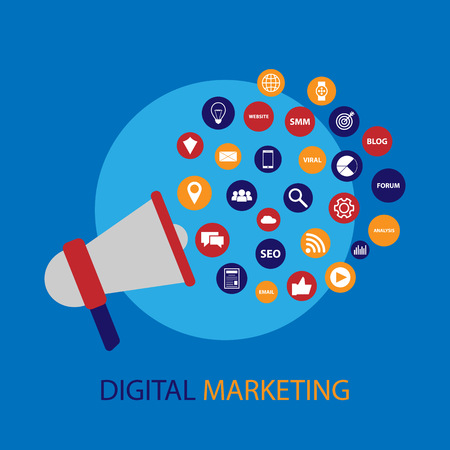 proclaim: Digital marketing illustration with megaphone Illustration