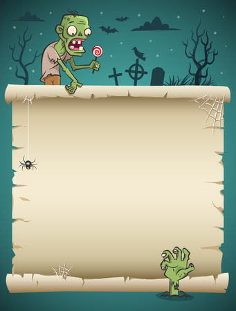 Halloween blank paper scroll with zombie and nighty background