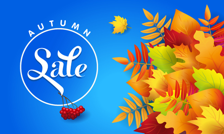 Vector banner for autumn sale with autumn colorful leaves and advertising text on blue background