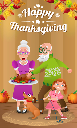 Illustration for thanksgiving day. Happy grandparents, granddaughter and dog with baked Turkey. Background decorated with autumn leaves, berries and pumpkins.