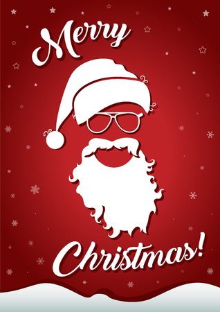 merry christmas greeting card with white silhouette of santa claus hat, glasses, beard and congratulatory text on the winter background with white stars and snowflakes