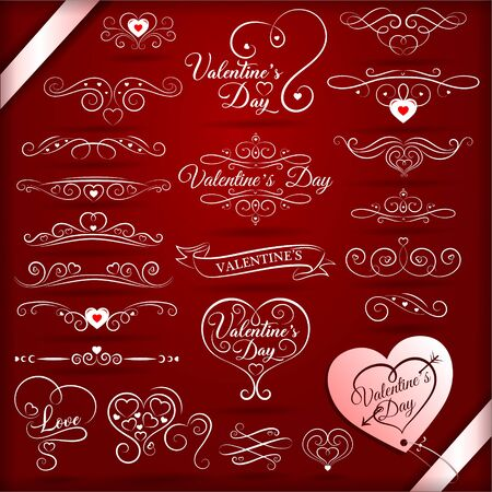 vintage decorative elements for valentines day  イラスト・ベクター素材
