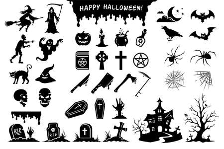 Big set of black silhouettes of monsters, creatures and elements for Halloween