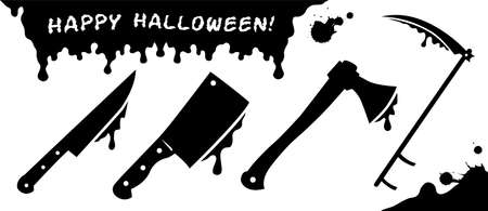 Set of black silhouettes of cold steel for Halloween