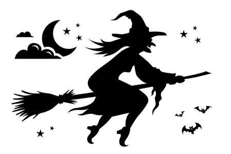 Black silhouette of a witch flying on a broom for Halloween.