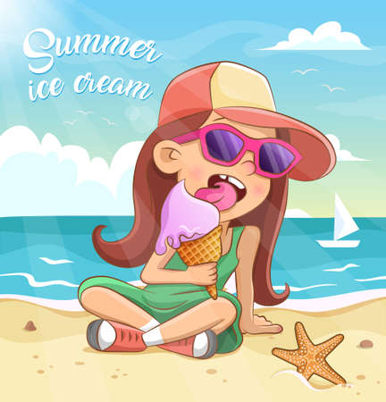 Little girl in sunglasses and cap eats ice cream in a waffle cone on the sea beach. Vector illustration. Summer background with sea, sky, clouds, starfish and sailboat on the sea waves.