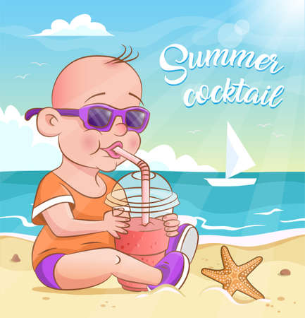 Kid in sunglasses drinking a fruit juice through a straw on the sea beach. Vector illustration. Summer background with sea, sky, clouds, starfish and sailboat on the sea waves