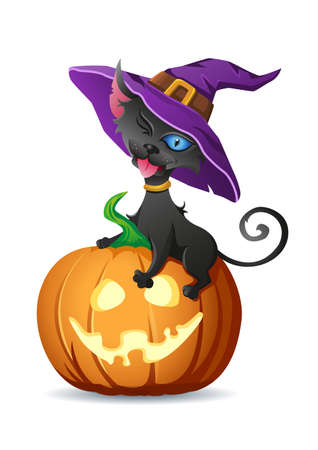 Black cat in witch hat sits on halloween pumpkin and shows its tongue. Vector illustration for halloween decorations isolated on white background. Image for greeting card or poster